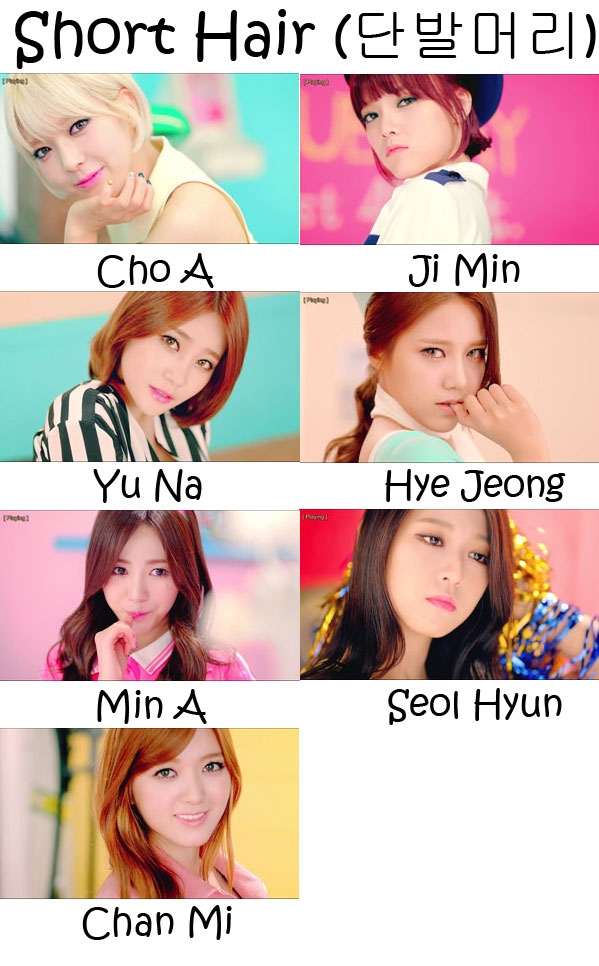 "The members of AOA in the ""Short Hair"" MV"