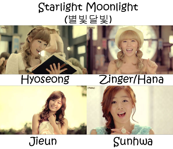 "The members of Secret in the ""Starlight Moonlight"" MV"