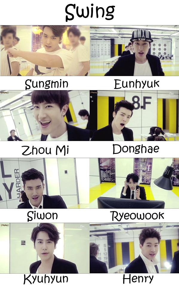 "The members of Super Junior's sub-unit Super Junior -M in the video for ""Swing"""