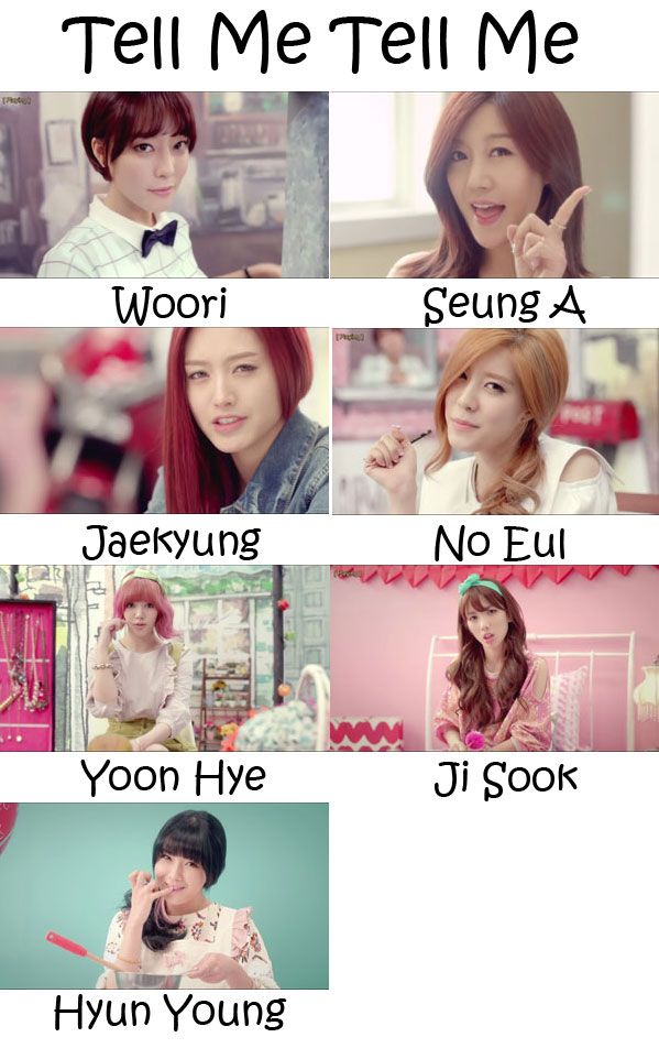 "The members of Rainbow in the ""Tell Me Tell Me"" MV"