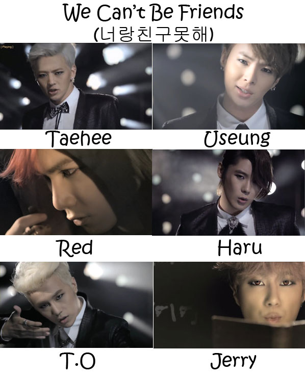 "The members of M.Pire in the ""We Can't Be Friends"" MV"