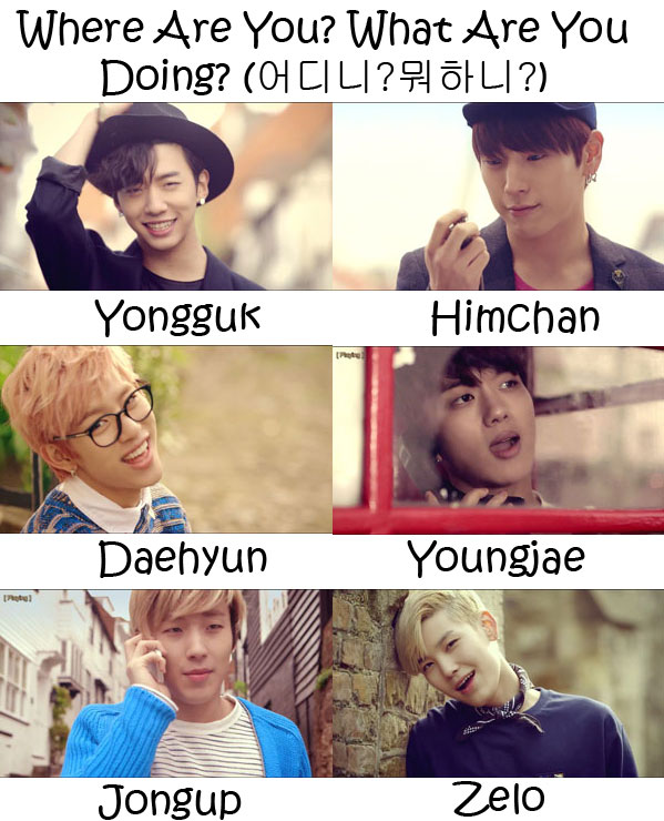 "The members of B.A.P in the ""Where Are You? What Are You Doing?"" MV"
