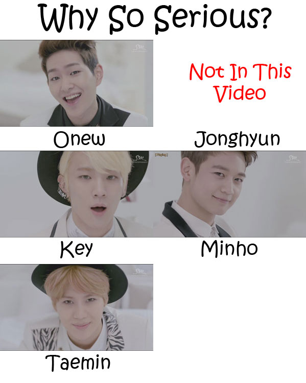 "The members of SHINee in the ""Why So Serious?"" MV"