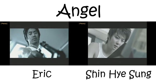 "Eric and Hyesung from Shinhwa in the ""Angel"" MV"
