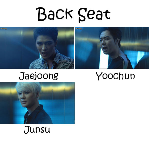 "The members of JYJ in the ""Back Seat"" MV"