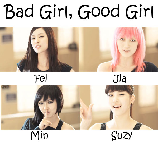 "The members of Miss A in the ""Bad Girl, Good Girl"" MV"