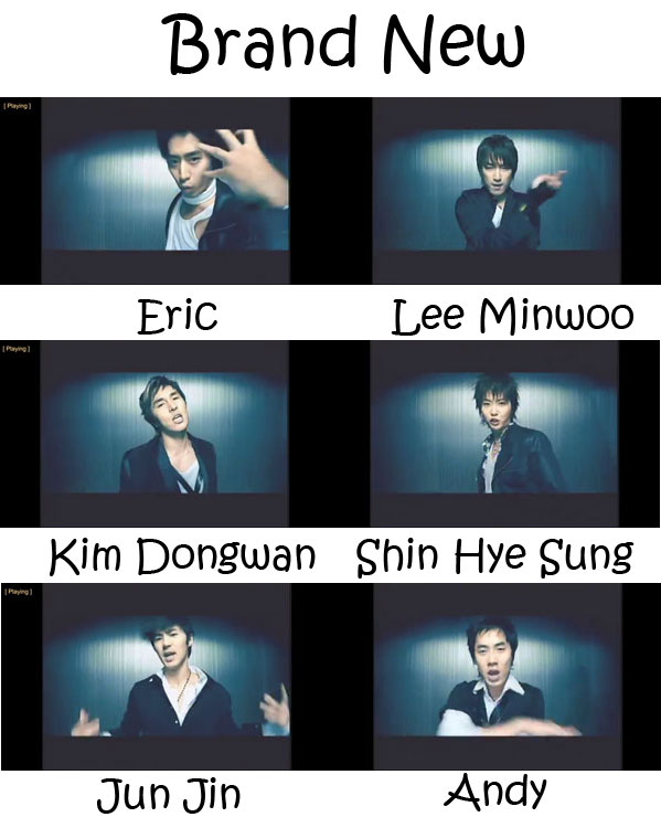 "The members of Shinhwa in the ""Brand New"" MV"