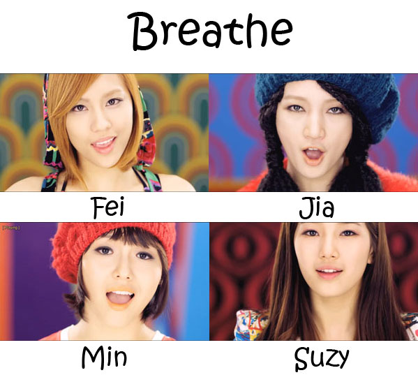 "The members of Miss A in the ""Breathe"" MV"