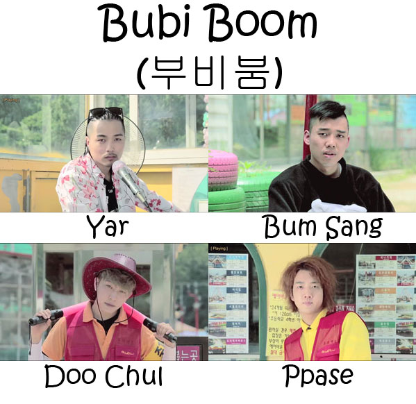 "The members of Nolza in the ""Bubi Boom"" MV"