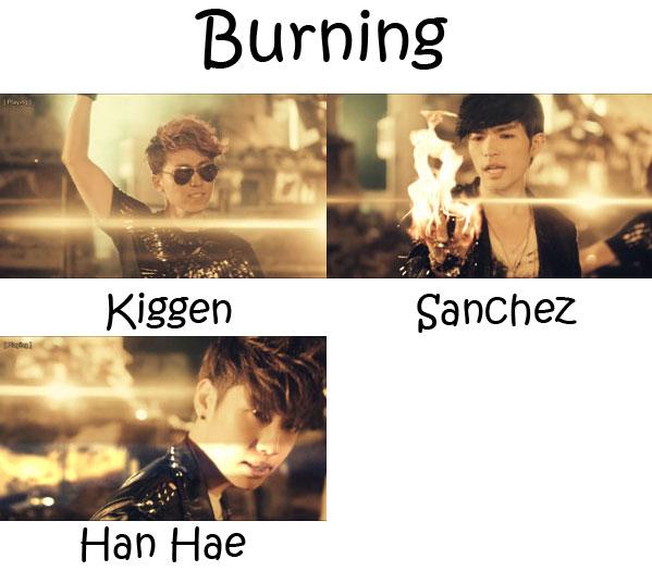 """The members of PHANTOM in the """"Burning"""" MV"""