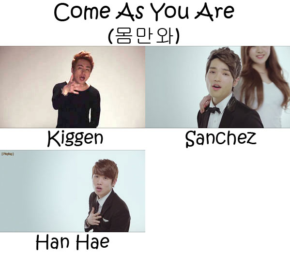 "The members of PHANTOM in the ""Come As You Are"" MV"