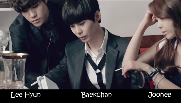 "The members of 8eight in the ""Covering Thos Lips"" MV"