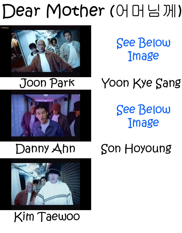 "The members of g.o.d in the ""Dear Mother"" MV"