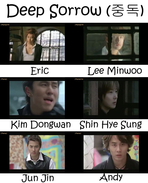 "The members of Shinhwa in the ""Deep Sorrow"" MV"