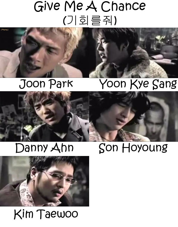 "The members of g.o.d in the ""Give Me A Chance"" MV"