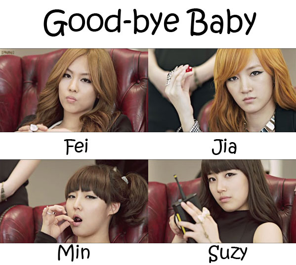"The members of Miss A in the ""Good-bye Baby"" MV"