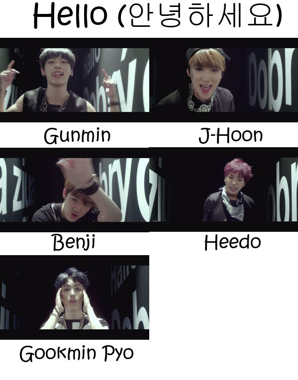 "The members of B.I.G in the ""Hello"" MV"