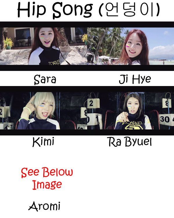 "The members of Scarlet in the ""Hip Song"" MV"
