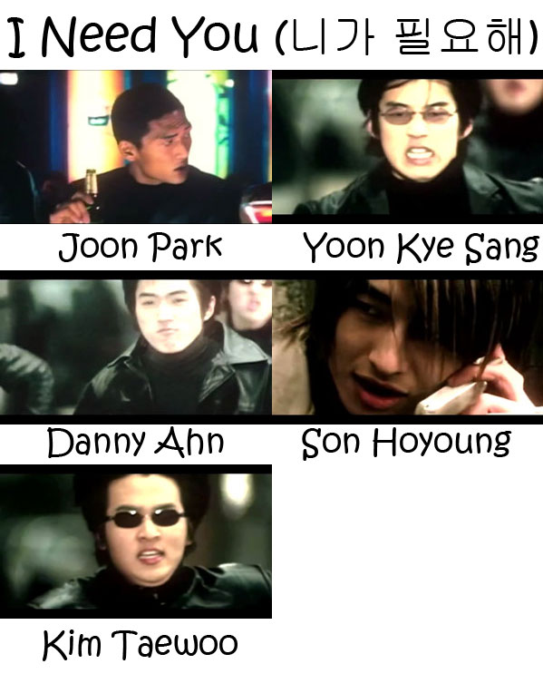 "The members of g.o.d in the ""I Need You"" MV"