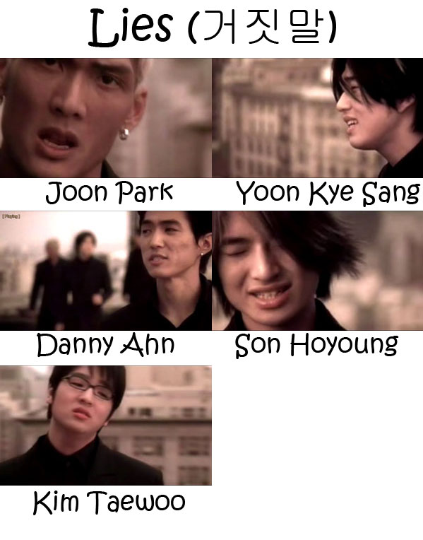 "The members of g.o.d in the ""Lies"" MV"