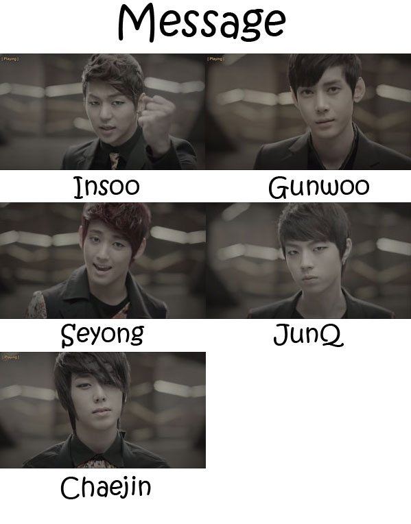 "The members of MYNAME in the ""Message"" MV"