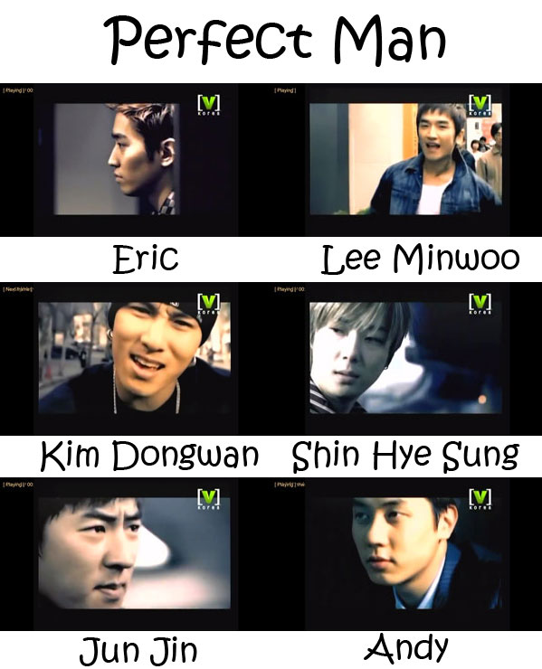 "The members of Shinhwa in the ""Perfect Man"" MV"