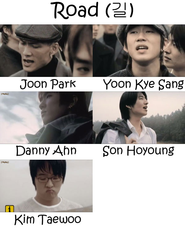 "The members of g.o.d in the ""Road"" MV"