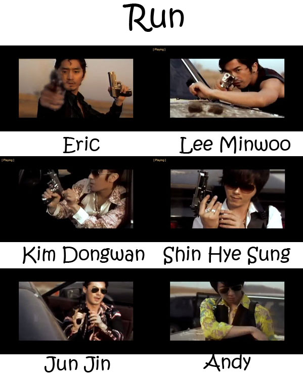 "The members of Shinhwa in the ""Run"" MV"