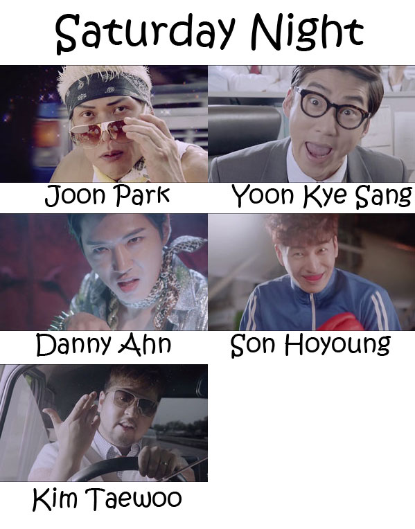 "The members of g.o.d in the ""Saturday Night"" MV"