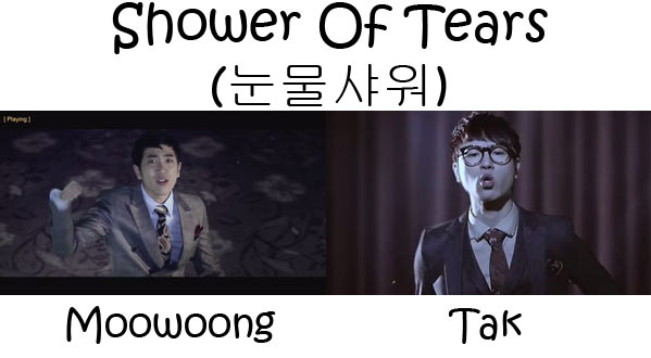"The members of BaeChiGi in the ""Shower Of Tears"" MV"