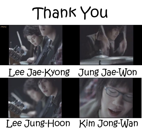 "The members of Nell in the ""Thank You"" MV"