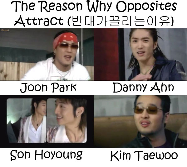 "The members of g.o.d in the ""The Reasons Why Opposites Attract"" MV"