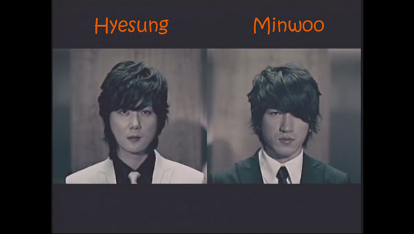 "Hyesung and Minwoo from Shinhwa in the ""Throw My Fist"" MV"