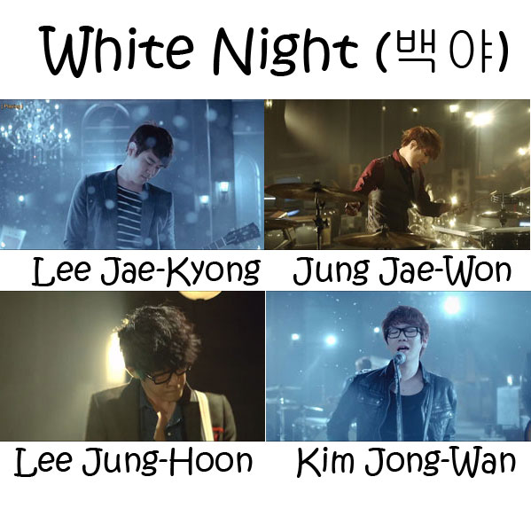 "The members of Nell in the ""White Night"""