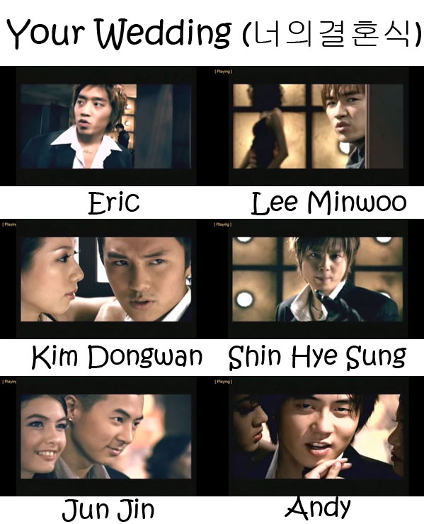 "The members of Shinhwa in the ""Your Wedding"" MV"