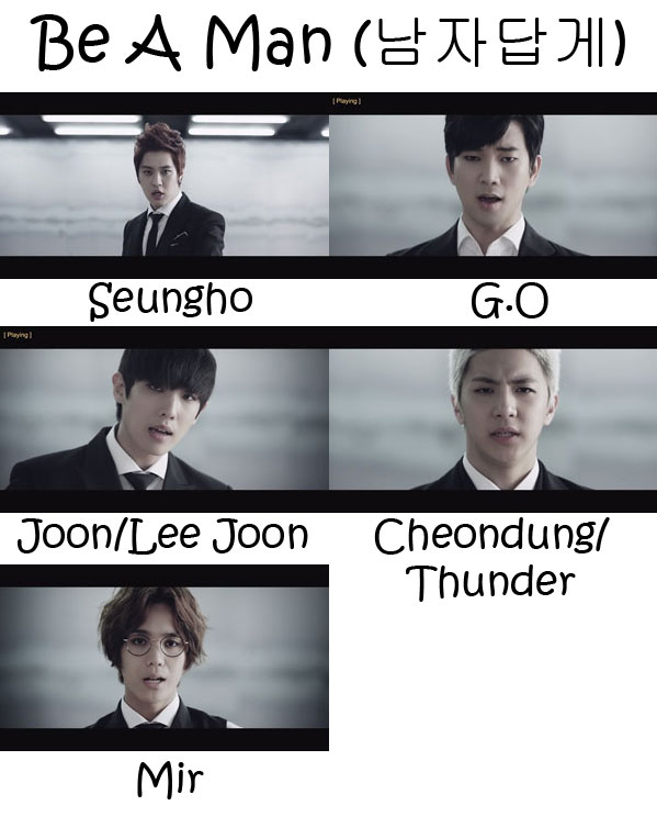 "The members of MBLAQ in the ""Be A Man"" MV"