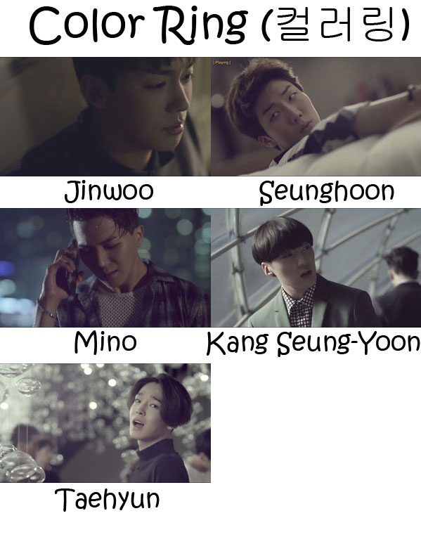 "The members of Winner in the ""Color Ring"" MV"