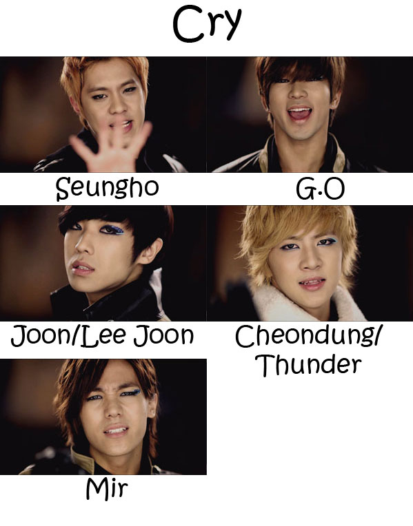 "The members of MBLAQ in the ""Cry"" MV"