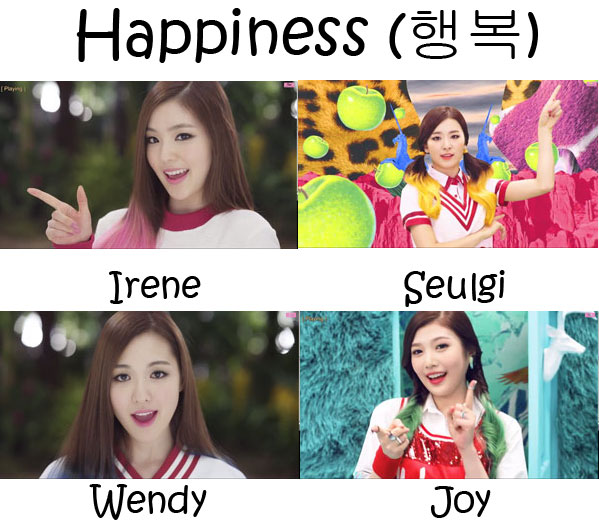 "The members of Red Velvet in the ""Happiness"" MV"