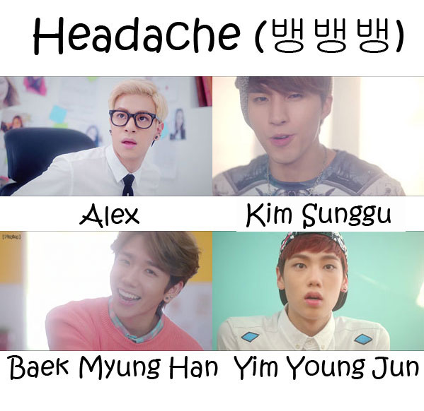 "The members of HIGH4 in the ""Headache"" MV"