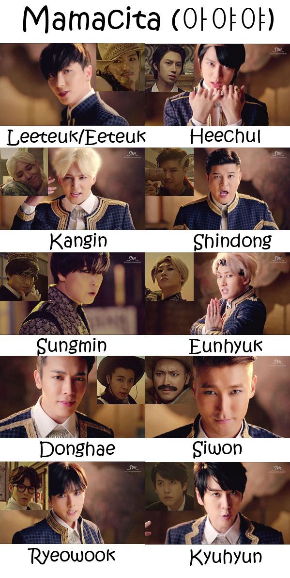 "The members of Super Junior in the ""Mamacita"" MV"