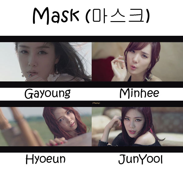 "The members of Stellar in the ""Mask"" MV"
