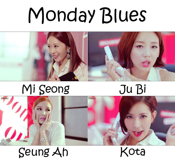 "The members of Sunny Hill in the ""Monday Blues"""