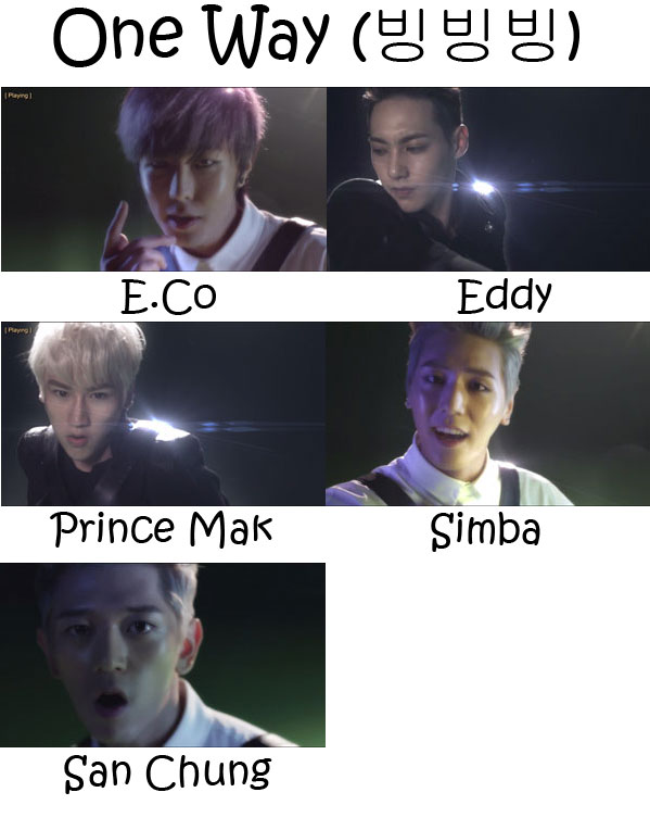 "The members of JJCC in the ""One Way"" MV"