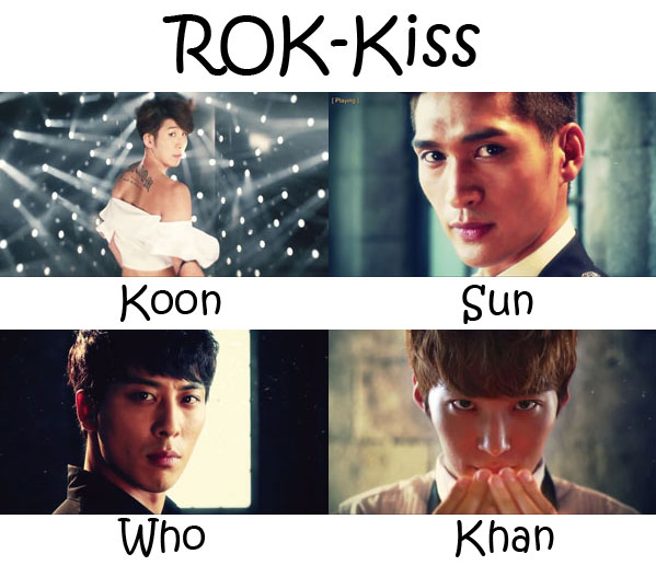 "The members of ROK-Kiss in the ""ROK Kiss"" MV"