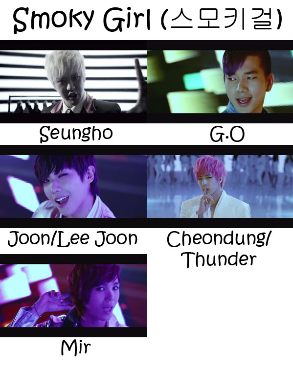"The members of MBLAQ in the ""Smoky Girl"" MV"