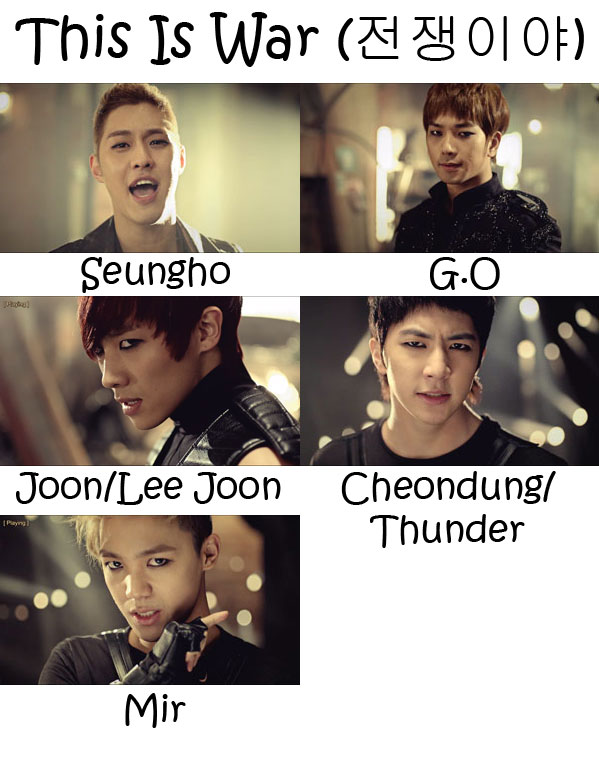 "The members of MBLAQ in the ""This Is War"" MV"