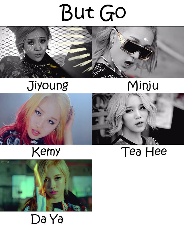 "The members of A.KOR in the ""But Go"" MV"