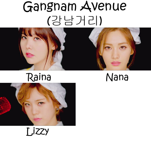 "The members of Orange Caramel in the ""Gangnam Avenue"" MV"