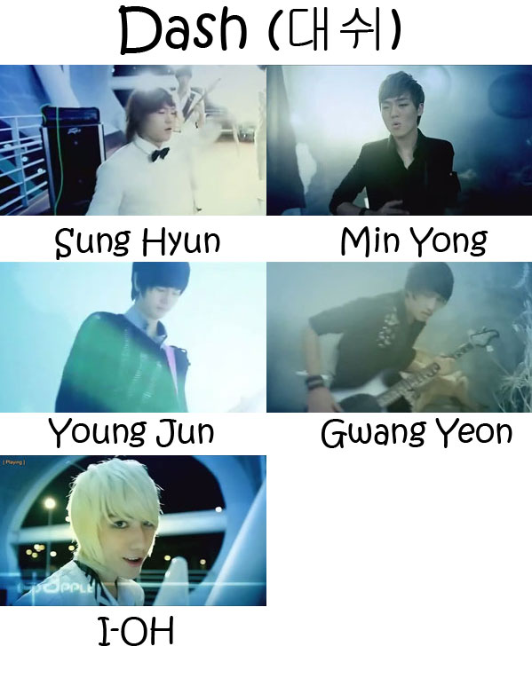 "The members of LED Apple in the ""Dash"" MV"